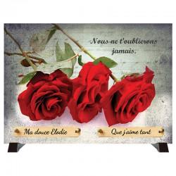 """Plaque Funéraire """"Roses rouges"""""""