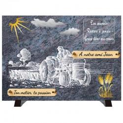 """Plaque Funéraire """"Compogranit"""" Campagne Agriculteur"""