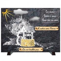 """Plaque Funéraire """"Compogranit"""" Nature - Puit"""
