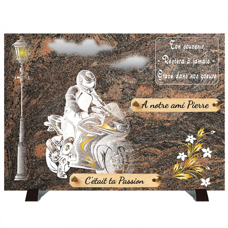 """Plaque Funéraire """"Compogranit"""" Moto Motard"""