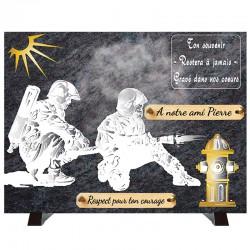 """Plaque Funéraire """"Compogranit"""" Sapeurs Pompiers"""