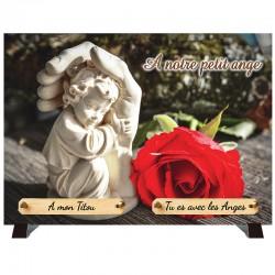 """Plaque Funéraire """"Ange et Rose rouge"""""""