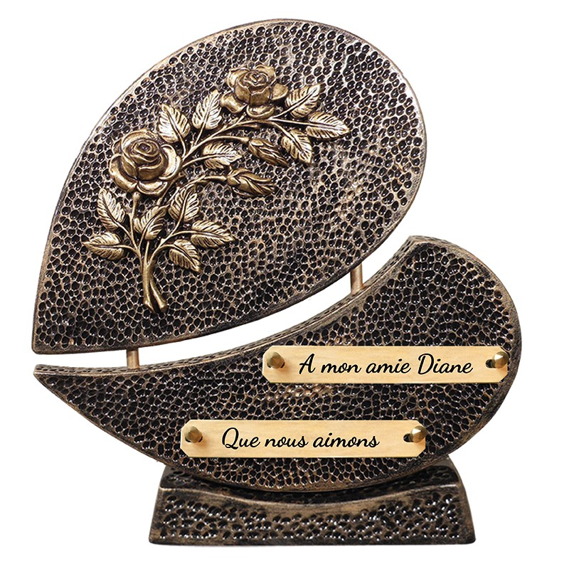 Plaque Funéraire Contemporaine Fleurs sur socle
