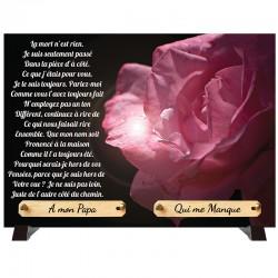"""Plaque Funéraire """"Rose rose"""""""