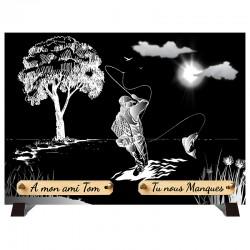 """Plaque Funéraire monochrome """"Pêcheur"""""""