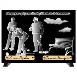"""Plaque Funéraire monochrome """"Pétanque"""""""