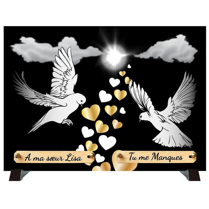 """Plaque Funéraire monochrome """"Colombes et Cœurs"""""""