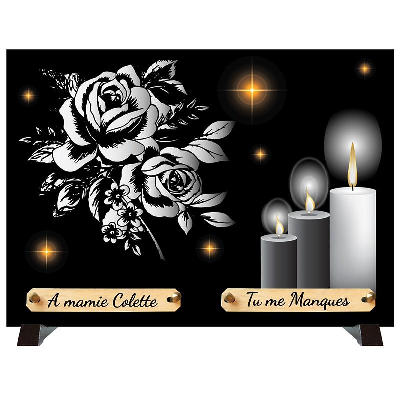 """Plaque Funéraire monochrome """"Bougies et Fleurs"""""""