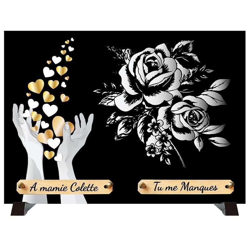 """Plaque Funéraire monochrome """"Cœurs et Fleurs"""""""