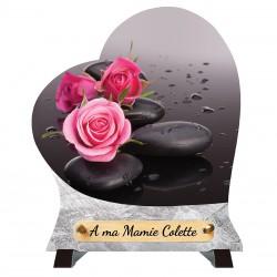 """Plaque Funéraire Coeur """"Roses et Galets"""""""