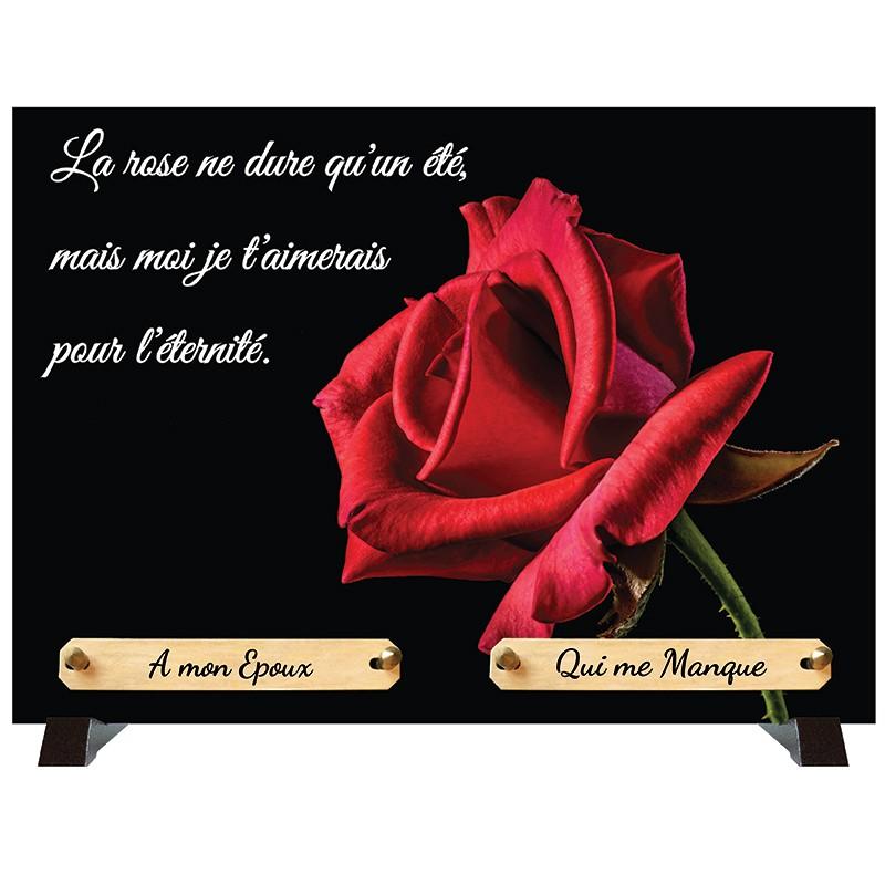 """Plaque Funéraire """"Rose rouge"""""""