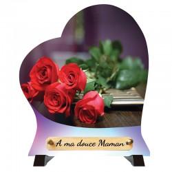 """Plaque Funéraire Coeur """"Roses rouges"""""""