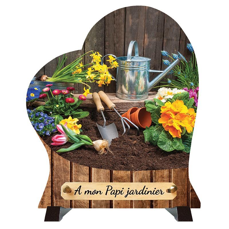"""Plaque Funéraire Coeur """"Jardinier"""""""
