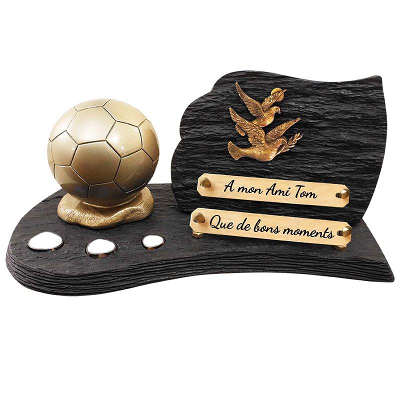 """Plaque Funéraire Schiste """"Ballon de Football"""""""