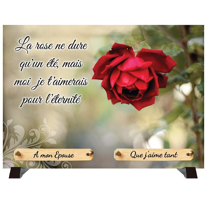 """Plaque Funéraire """"Rose tendresse"""""""