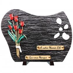 """Plaque Funéraire Schiste """"Tulipes"""""""