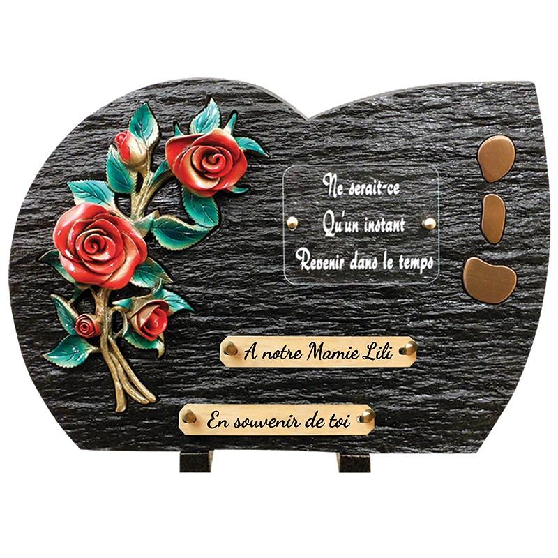 """Plaque Funéraire Schiste """"Roses rouges"""""""