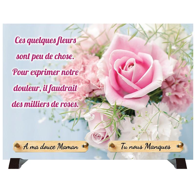 """Plaque Funéraire """"Bouquet de roses"""""""