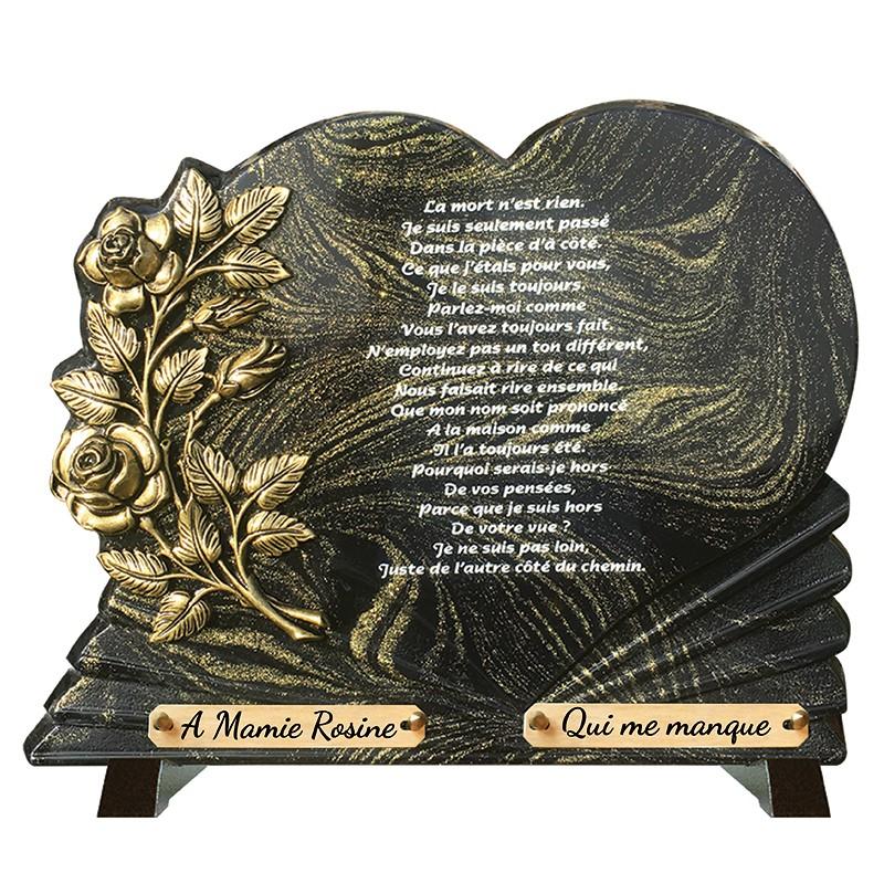 """Plaque Funéraire Prestige sur pieds """"Coeur Or et fleurs"""""""