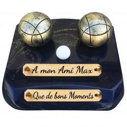 """Plaque Funéraire Prestige """"Boules de pétanques"""""""