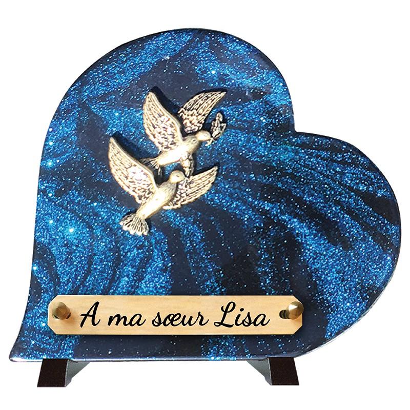 """Plaque Funéraire Coeur """"Deux Colombes"""""""