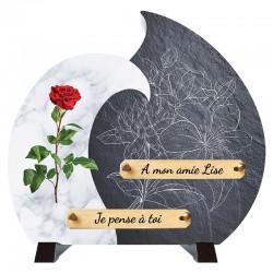Plaque Funéraire moderne Composite Rose rouge sur pieds