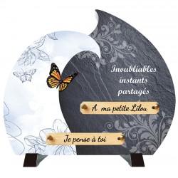 Plaque Funéraire moderne Composite Papillon sur pieds