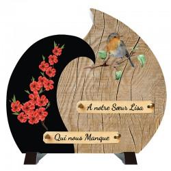 Plaque Funéraire moderne Composite Oiseau et fleurs sur pieds