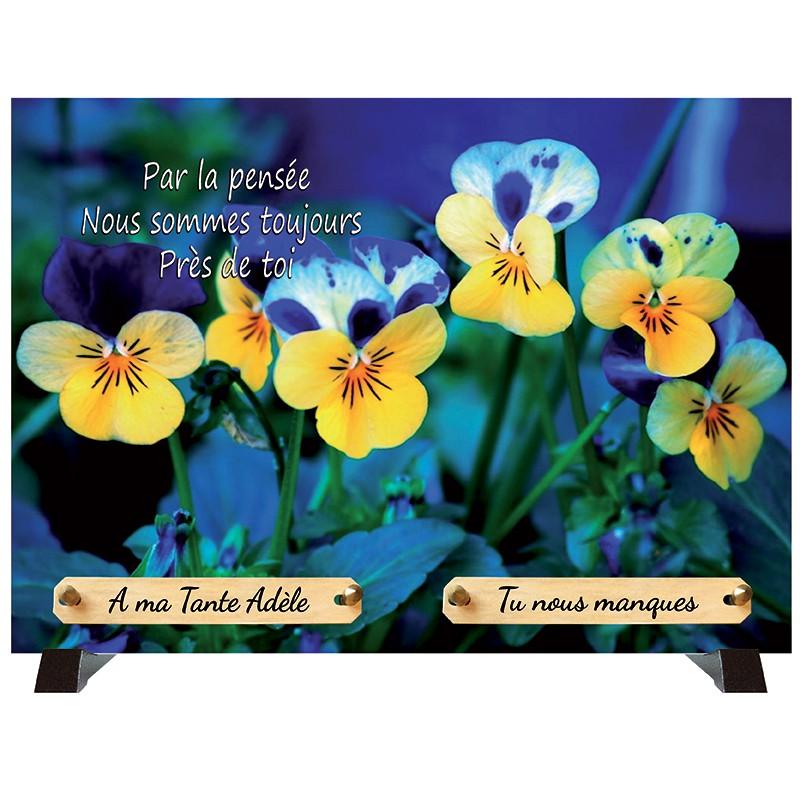 """Plaque Funéraire """"Fleurs pensées"""""""