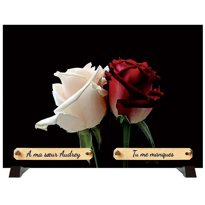 """Plaque Funéraire """"Duo de roses"""""""