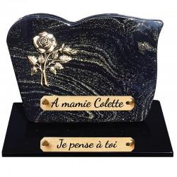 Plaque Funéraire Composite sur socle Bronze Rose