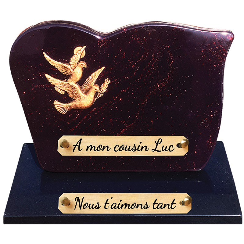 Plaque Funéraire Composite sur socle Bronze Deux Colombes