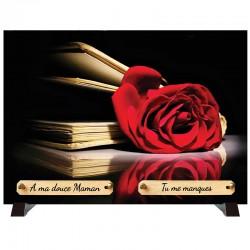 """Plaque Funéraire """"Livre et rose rouge"""""""