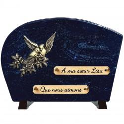 Plaque Funéraire Composite sur socle Bronze Deux Oiseaux