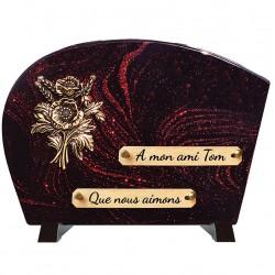 Plaque Funéraire Composite sur socle Bronze Fleurs en bouquet