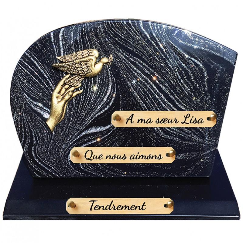 Plaque Funéraire Composite sur socle pailleté argent avec Bronze