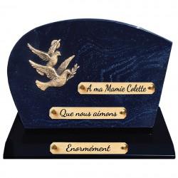 Plaque Funéraire Composite sur socle pailleté bleu avec Bronze