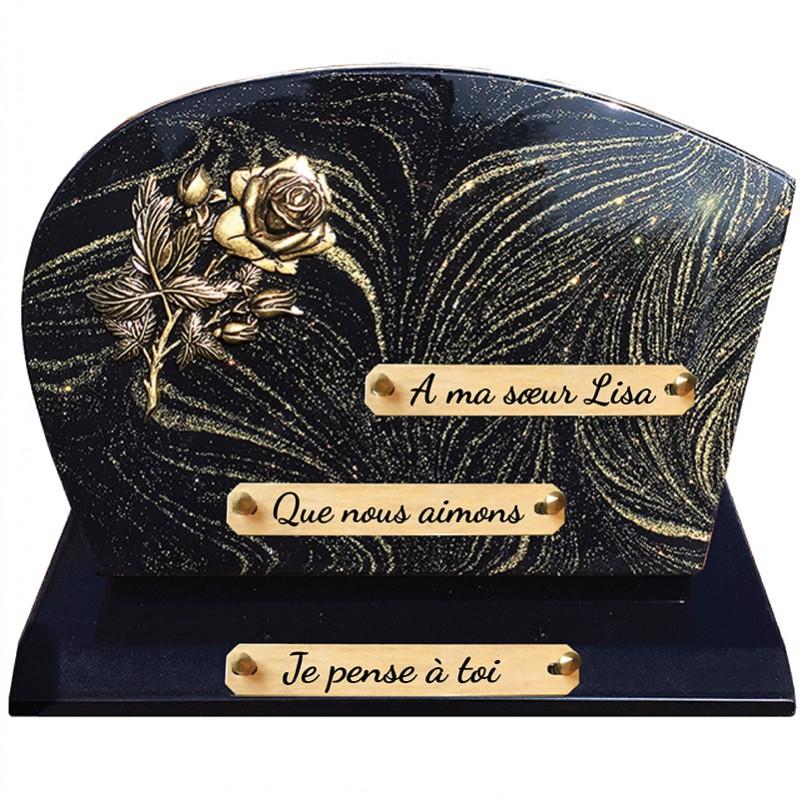 Plaque Funéraire Composite sur socle pailleté Or avec Bronze