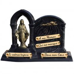 Plaque Funéraire Composite sur socle avec Vierge et Colombe