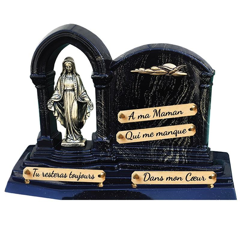 Plaque Funéraire Composite pailletée Or avec Vierge et Colombe