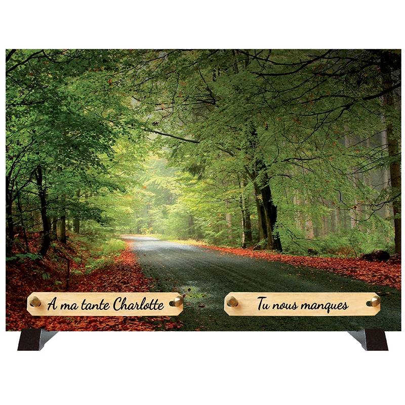 """Plaque Funéraire """"Sous Bois - Forêt"""""""