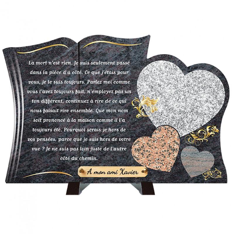 Plaque funéraire de prestige Livre et Cœurs