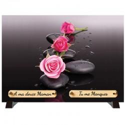 """Plaque Funéraire """"Fleurs Zen"""""""