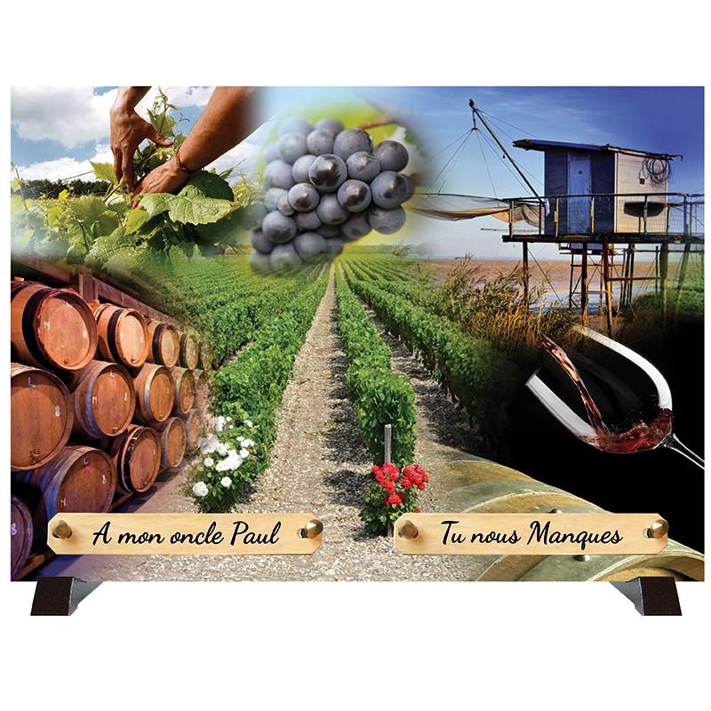 """Plaque Funéraire """"Vignes - Vignerons"""""""