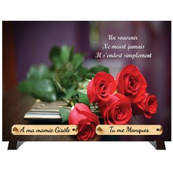 """Plaque Funéraire """"Bouquet de roses rouges"""""""