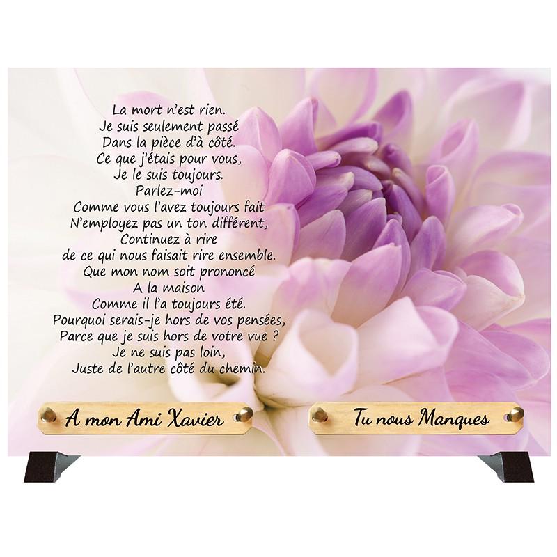 """Plaque Funéraire """"Pivoine"""""""