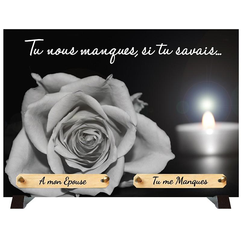 """Plaque Funéraire """"Rose et bougie"""""""