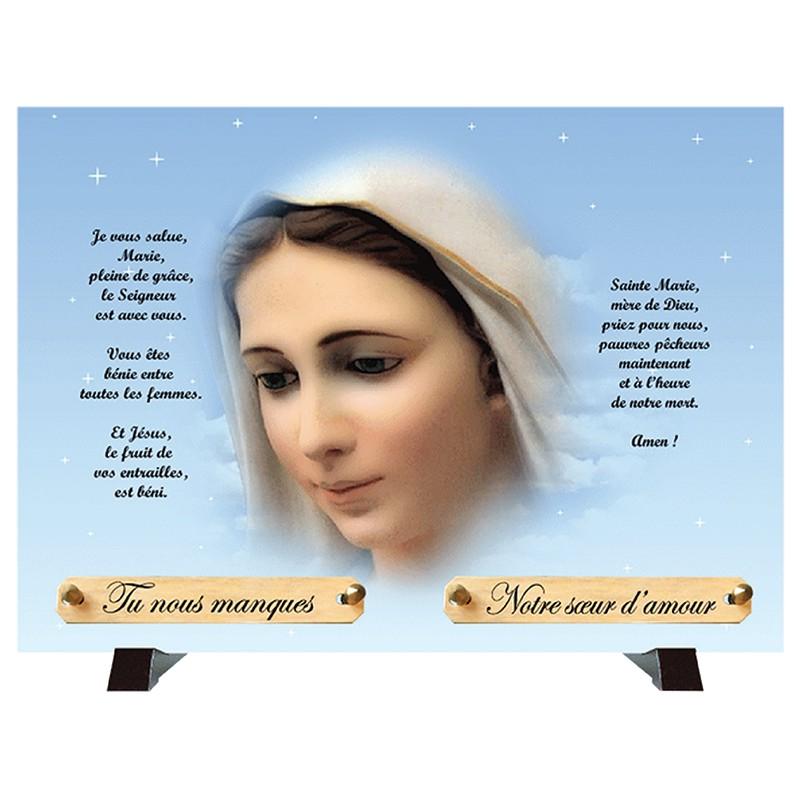 """Plaque Funéraire """"Vierge Marie"""""""